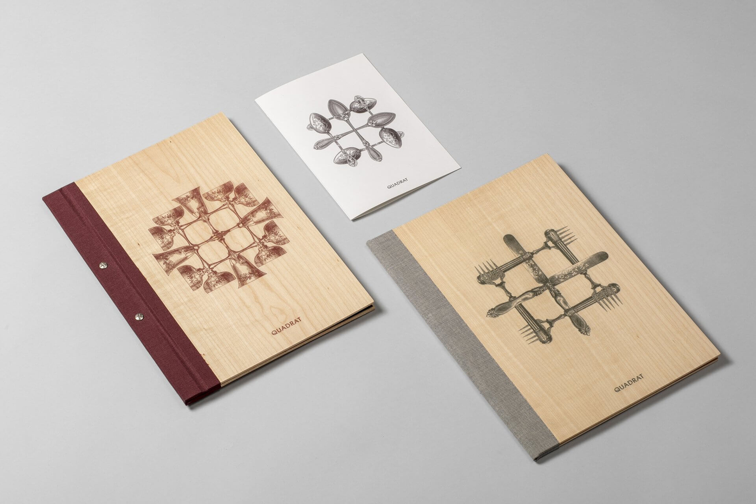 Brand identity and wood and fabric menu covers designed by Mucho for Spanish 5-star hotel Sant Francesc.