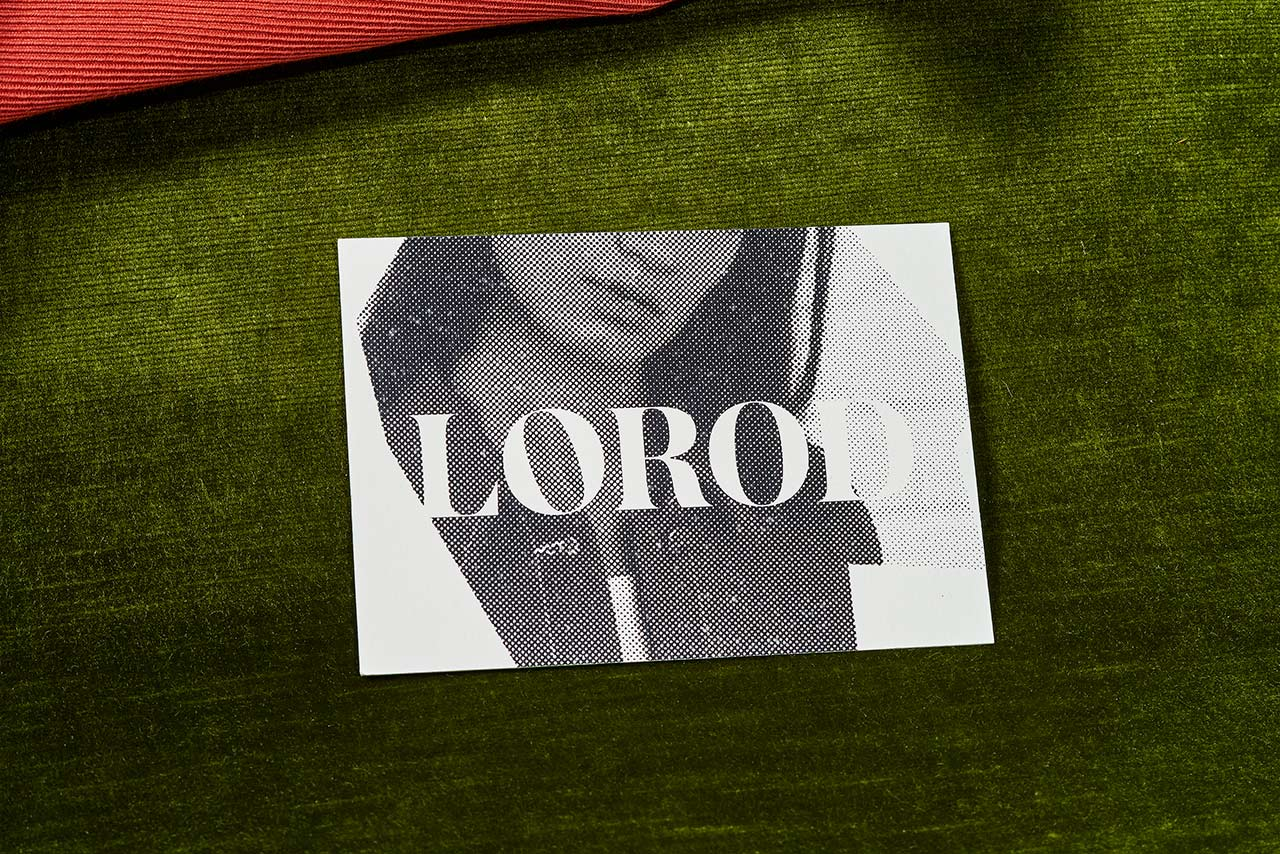 Brand identity and print with halftone image by Pentagram's Natasha Jen for fashion brand Lorod.