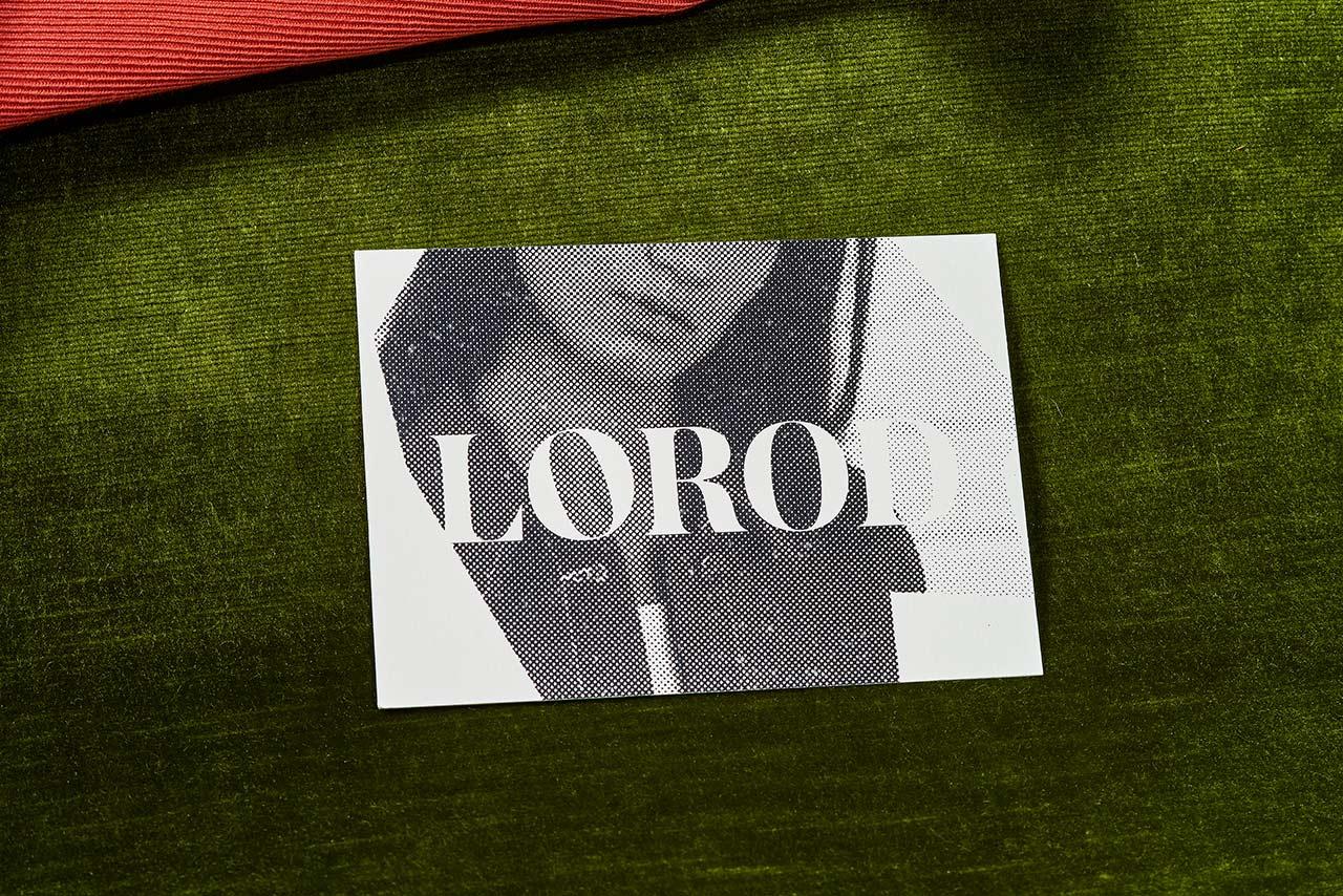 Brand identity and print with halftone image by Pentagram's Natasha Jen for fashion brand Lorod.