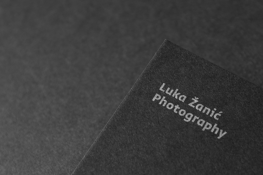 Uncoated business cards with silver metallic spot colour detail by Studio8585 for architectural photographer Luka Žanić