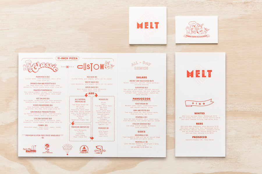 Menu by Can I Play for Australian pizza franchise Melt
