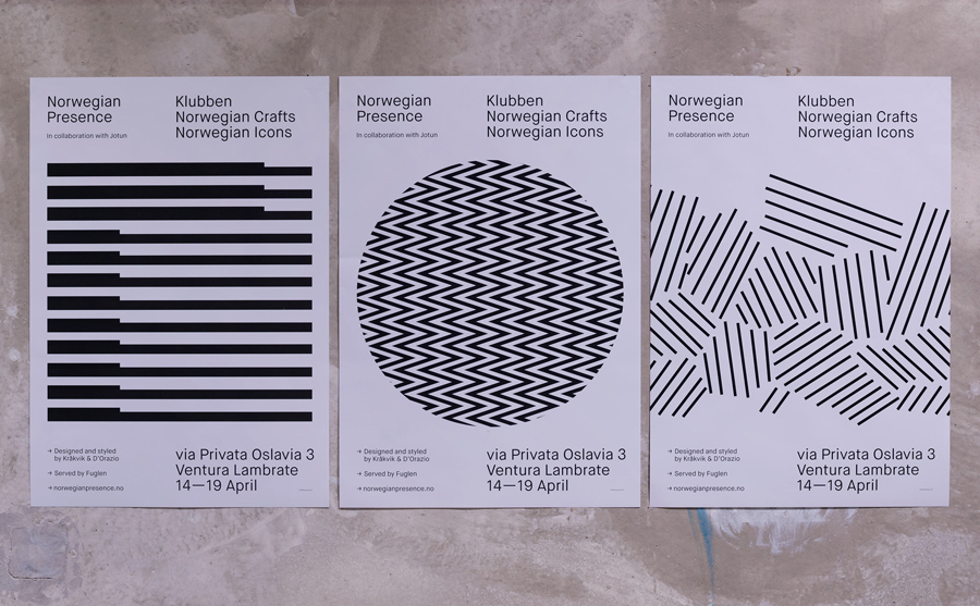 Posters for Norwegian Presence by graphic design studio Bielke&Yang