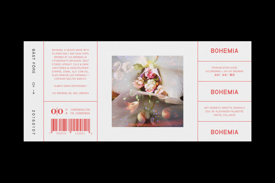 Label for O/O Brewing by Swedish graphic design studio Lundgren+Lindqvist