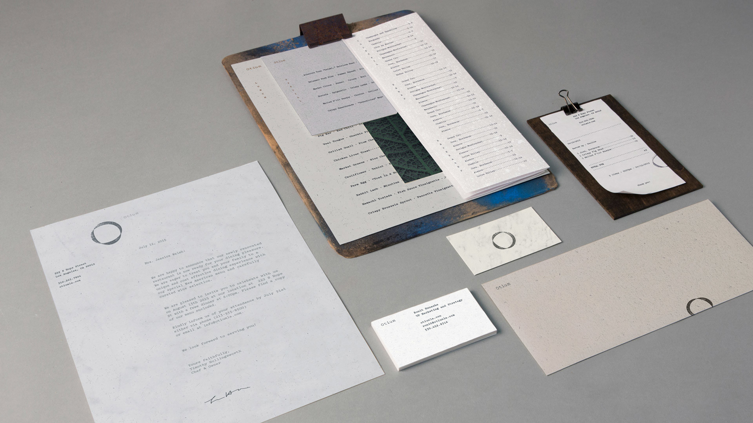 Logo, menus, stationery and print by Sagmeister & Walsh for contemporary restaurant Otium