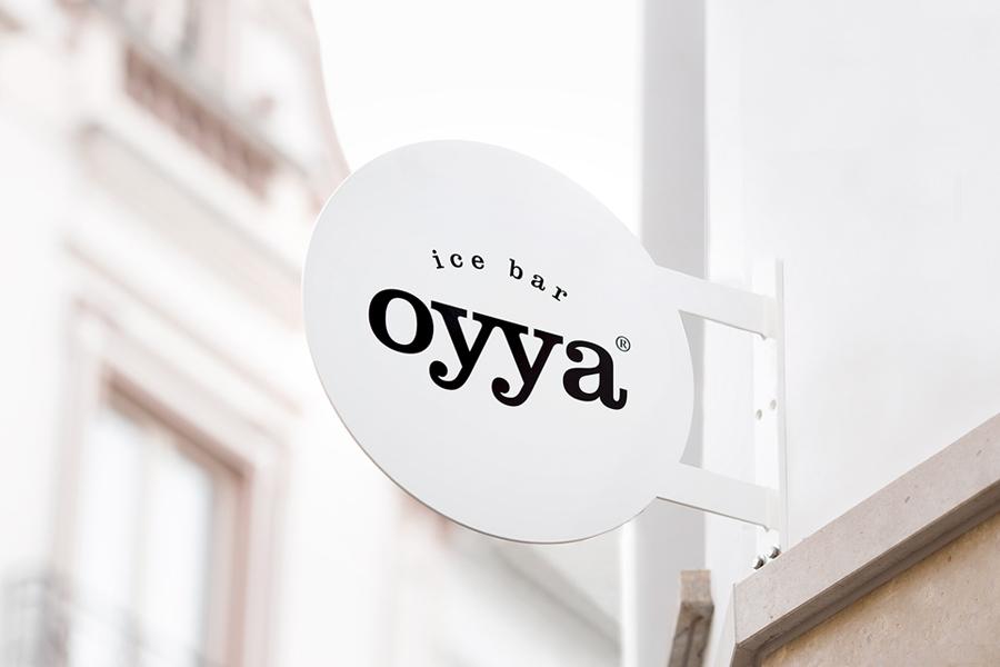 Logotype and signage designed by Skinn for Bruges ice bar Oyya