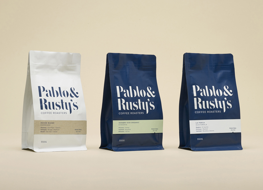 Coffee packaging design for Sydney based roaster Pablo & Rusty's designed by Manual