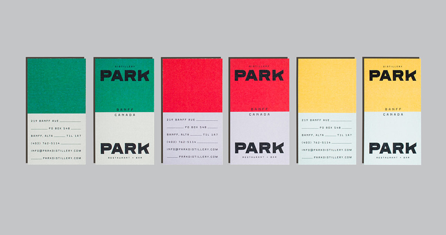 Logotype and brand identity for Canadian restaurant and distillery Park by Glasfurd & Walker