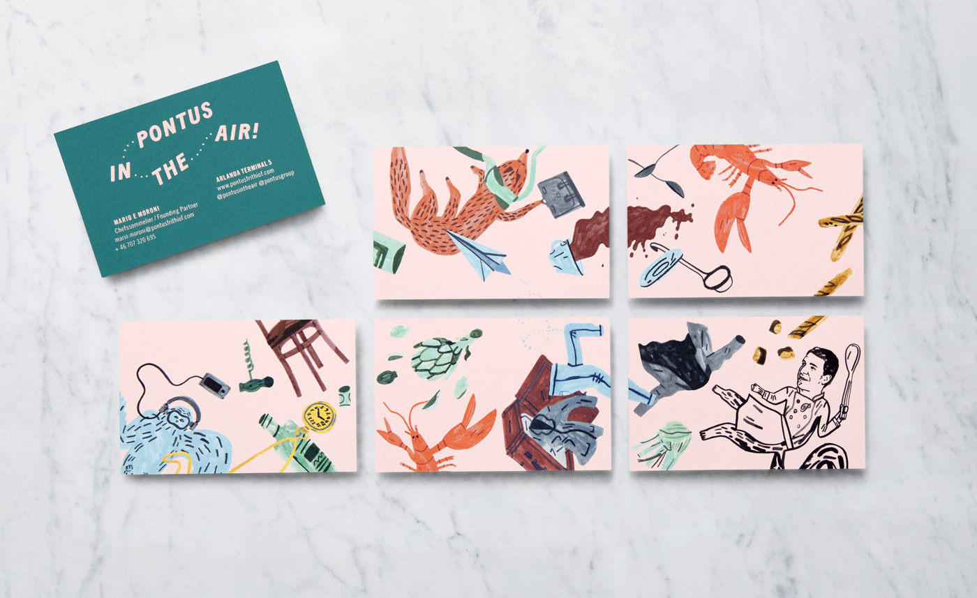 Brand identity and business cards by Stockholm-based Bold for Arlanda Airport restaurant Pontus In The Air