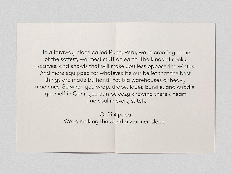 Lookbook featuring GT Walsheim by Toronto-based Leo Burnett Design for Peruvian handmade knitwear brand Qoñi