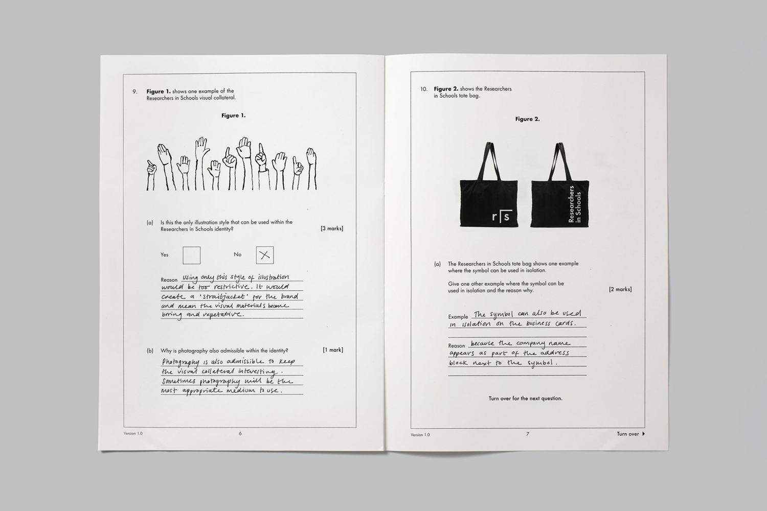 Brand guidelines for Researchers In Schools by UK based graphic design studio Paul Belford Ltd.