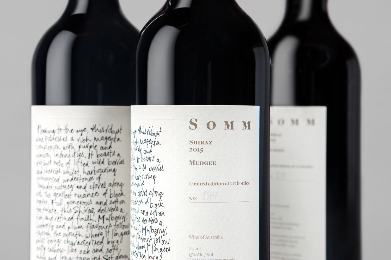 Wine label designed by Sydney-based Frost for Niche Wine Co.'s limited edition release Somm, an Australian Shiraz