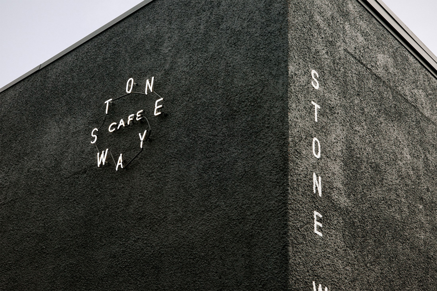 Neon and painted signage for Stone Way Cafe designed by Shore