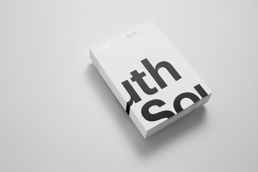 Open stitched project brochure for Auckland based graphic design business Studio South