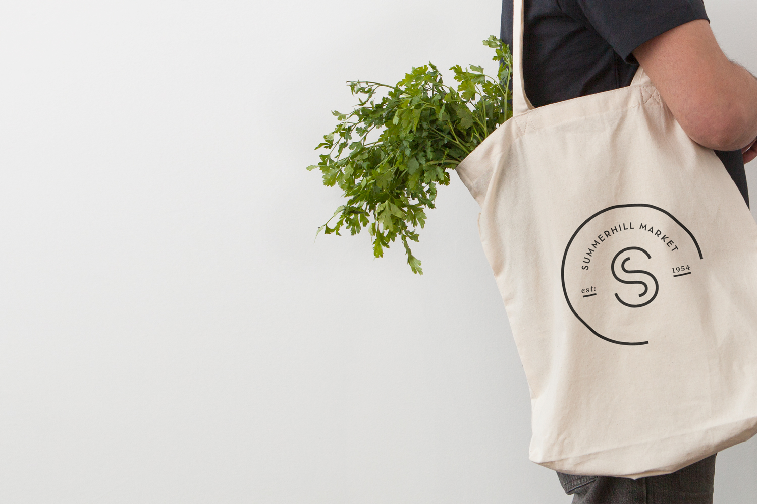 Logo and branded tote bag designed by Canadian studio Blok for Toronto based boutique grocery store Summerhill Market