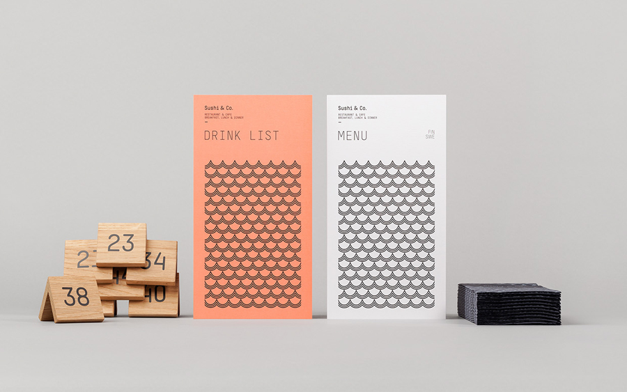 Visual identity and menus for Baltic Sea cruise ship restaurant Sushi & Co. designed by Bond