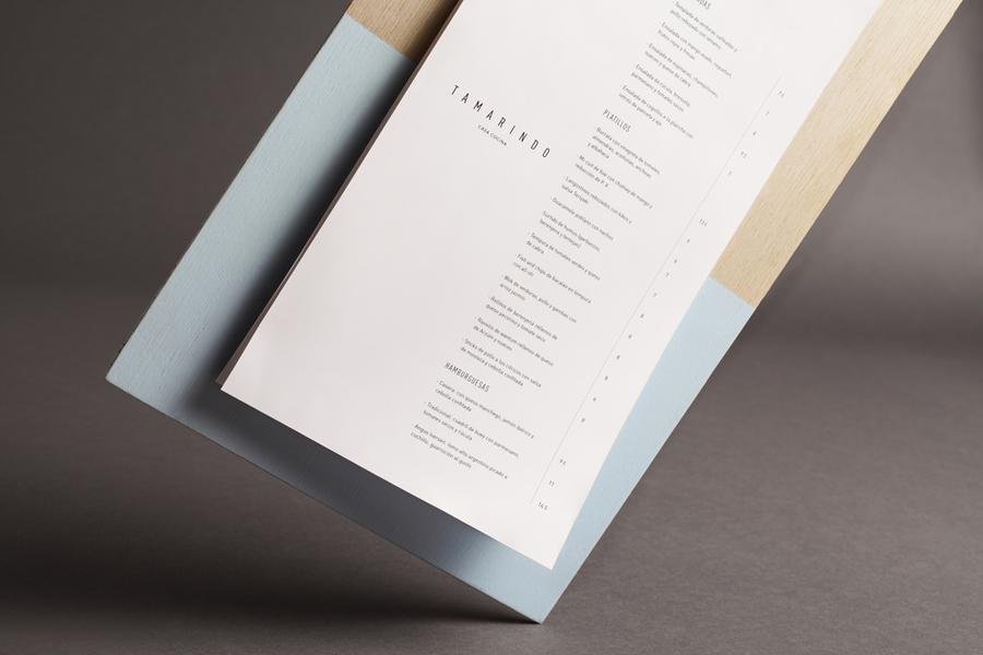 Painted wood menu for Spanish kitchen and bar Tamarindo designed by La Tortillería