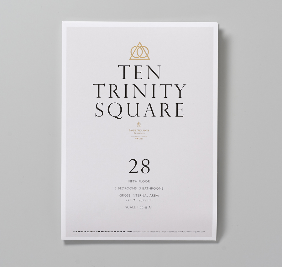 Ten Trinity Square floor plan with gold foil detail designed by Pentagram