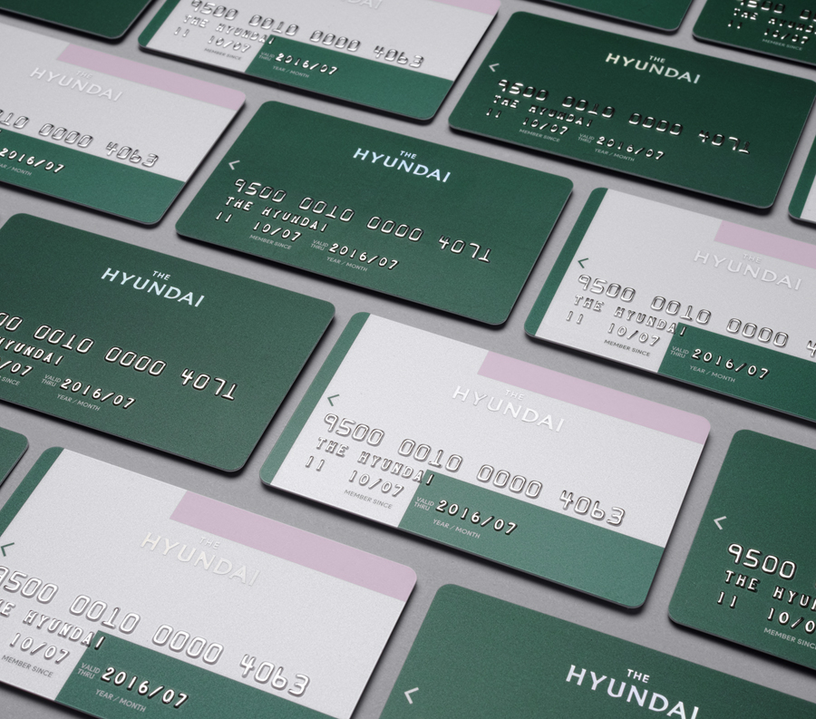 Visual identity and store cards for South Korean department store The Hyundai by graphic design company Studio fnt