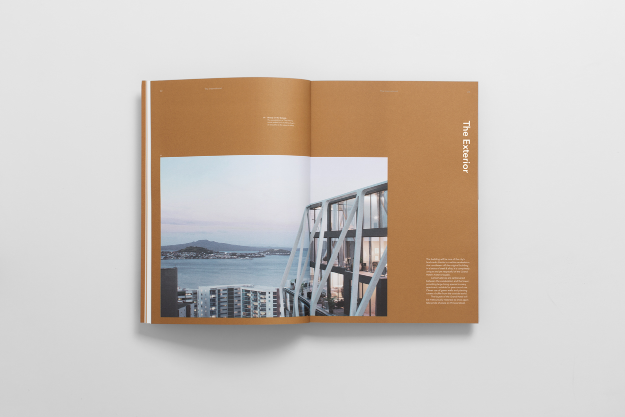 Brand identity and brochure design by Studio South for Auckland luxury apartment complex The International
