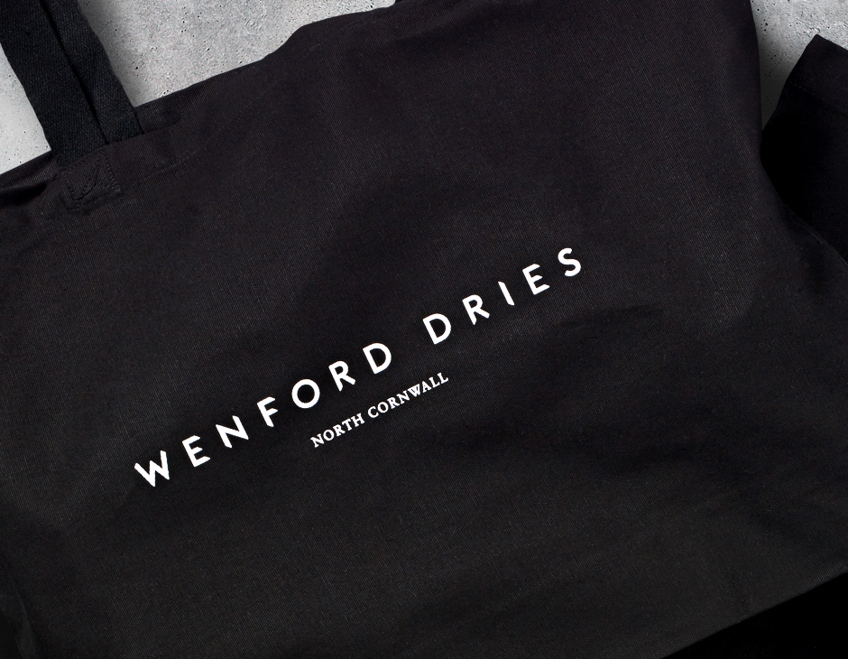 Branding and tote bag for North Cornwall property development Wenford Dries by London based graphic design studio ico.