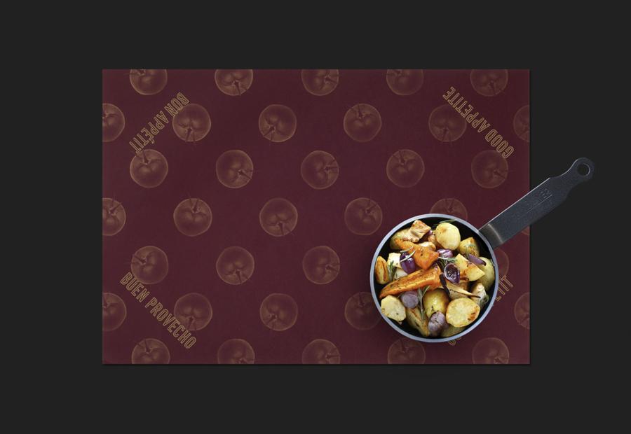 Gold foiled place mat by graphic design studio Moruba for Wine Fandango