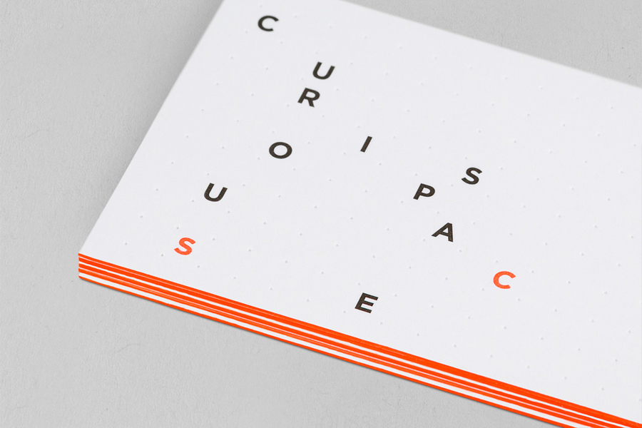 Business card design with emboss and edge painted detail for Curious Space by Mash Creative & May Ninth