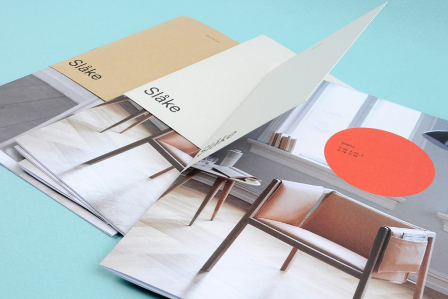 Brochure with bright neon and earthy colour palette for furniture manufacturer Slåke Møbelfabrikk designed by Ghost