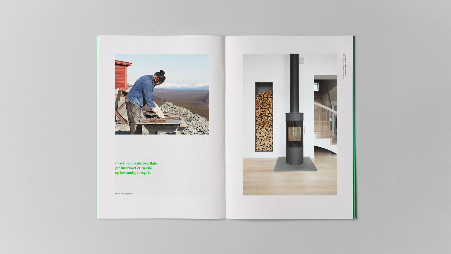 Brochure spread for Alta Quartzite mining and sales business Altaskifer designed by Neue, Norway