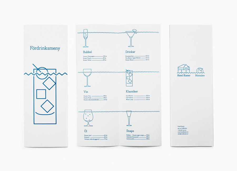 Illustrated menu design for Sweden's Hotel Koster designed by Bedow