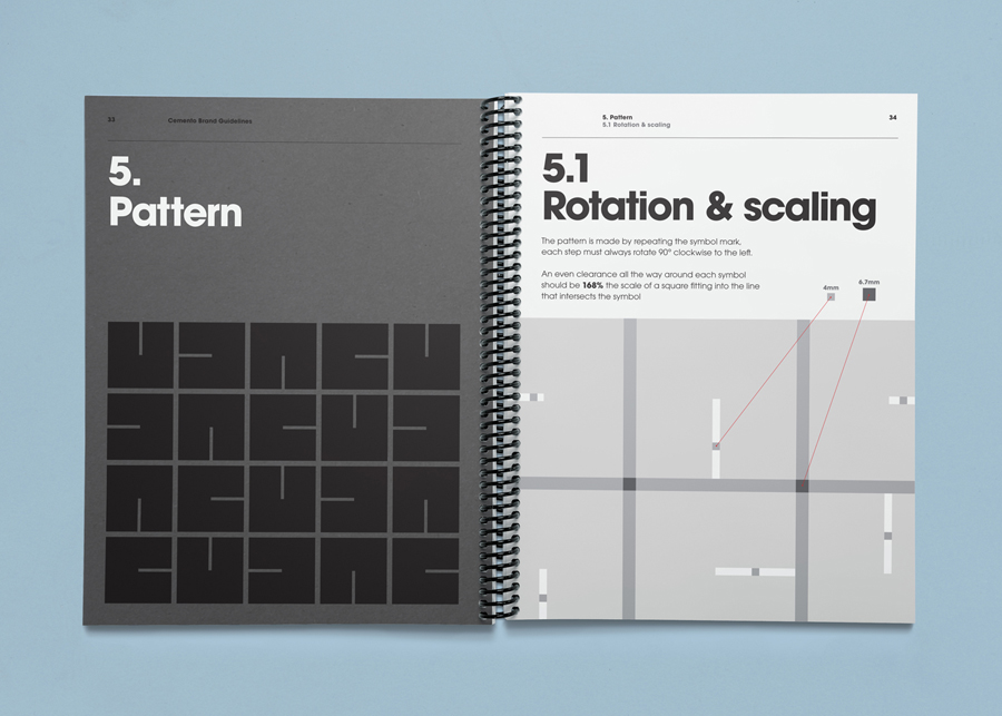 Brand guidelines designed by S-T for cement veneer business Cemento