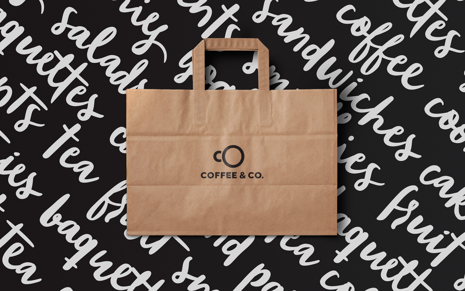 Brand identity and branded bag by Bond for cruise ship cafeteria concept Coffee & Co.