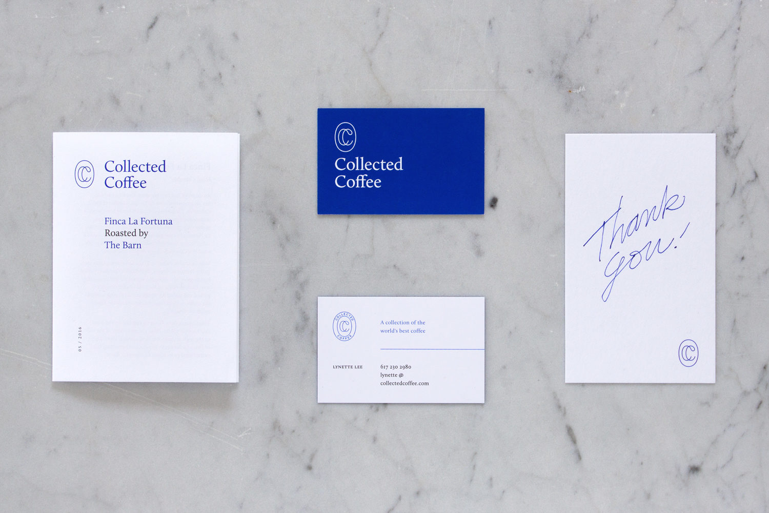 Brand identity, print and business cards for New York coffee subscription service Collected Coffee by Fivethousand Fingers