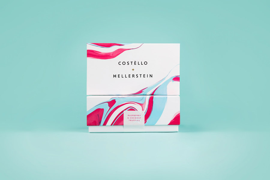 New logo and packaging design by Robot Food for artisanal chocolate truffle business Costello + Hellerstein