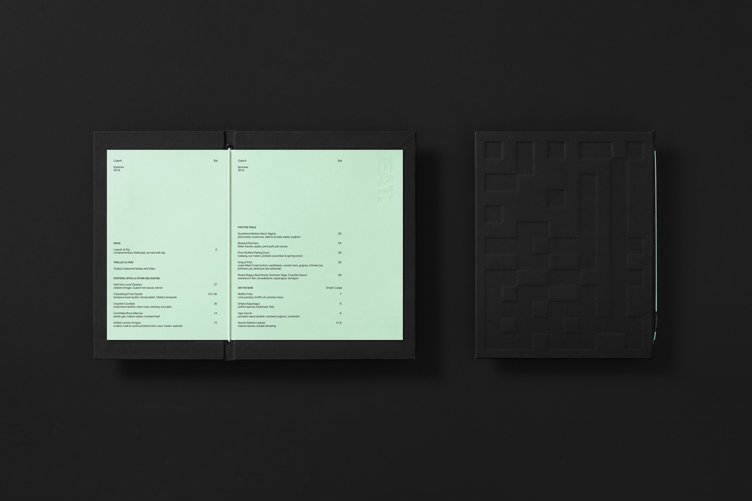 Brand identity and food menu by Studio South for Auckland bar and restaurant Culprit