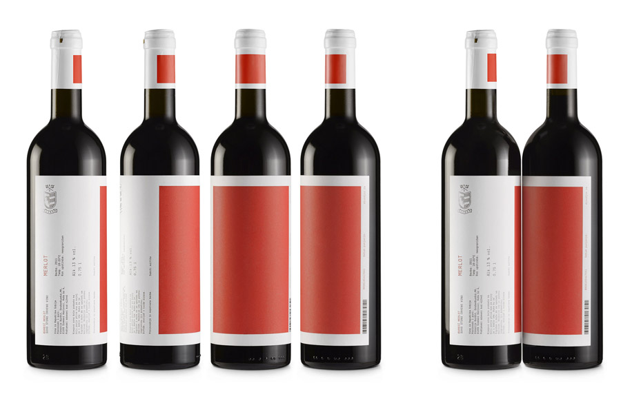 Wine label and packaging with spot colour and silver foil detail by Peter Gregson for Serbian wine producer Djurdjic Winery.
