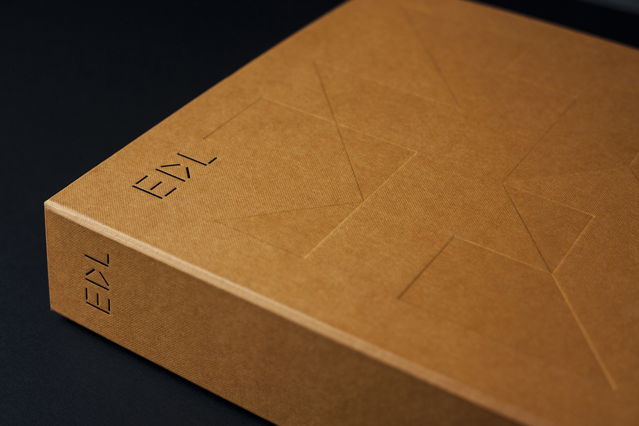 EDL laminates embossed and black block foiled brochure by Bravo, Singapore