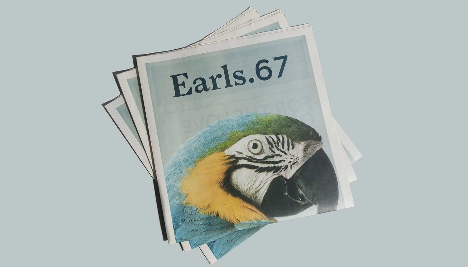 Newsprint designed by Glasfurd & Walker featuring parrot photography by Eydis Einarsdóttir for US and Canadian restaurant chain prototype Earls.67