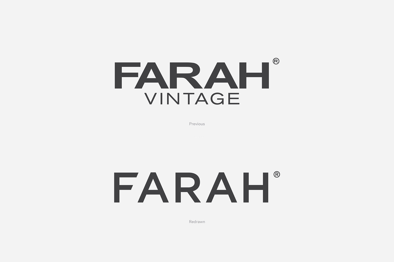 Logotype for UK men's fashion brand Farah Farah by graphic design studio Post