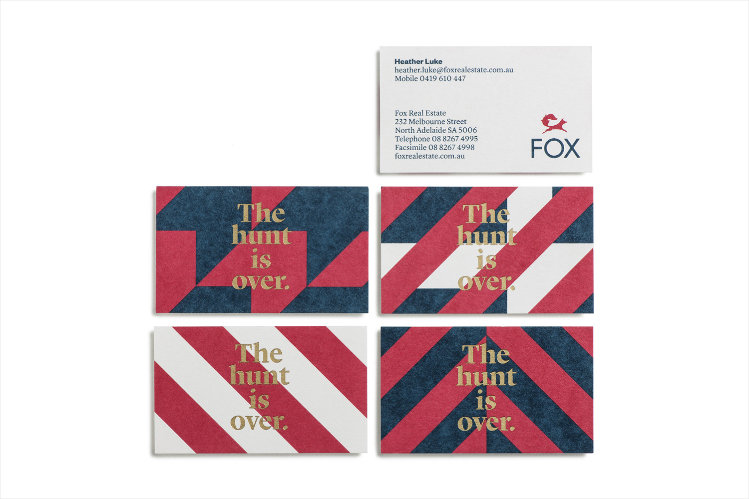 Brand identity and business cards for Fox Real Estate by Parallax Design, Australia