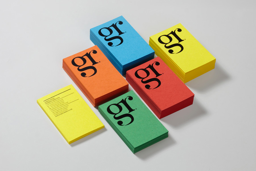 Logo with ligature and quotation mark detail and bright, dyed paper business cards created by Ascend for London-based PR agency GR Communications