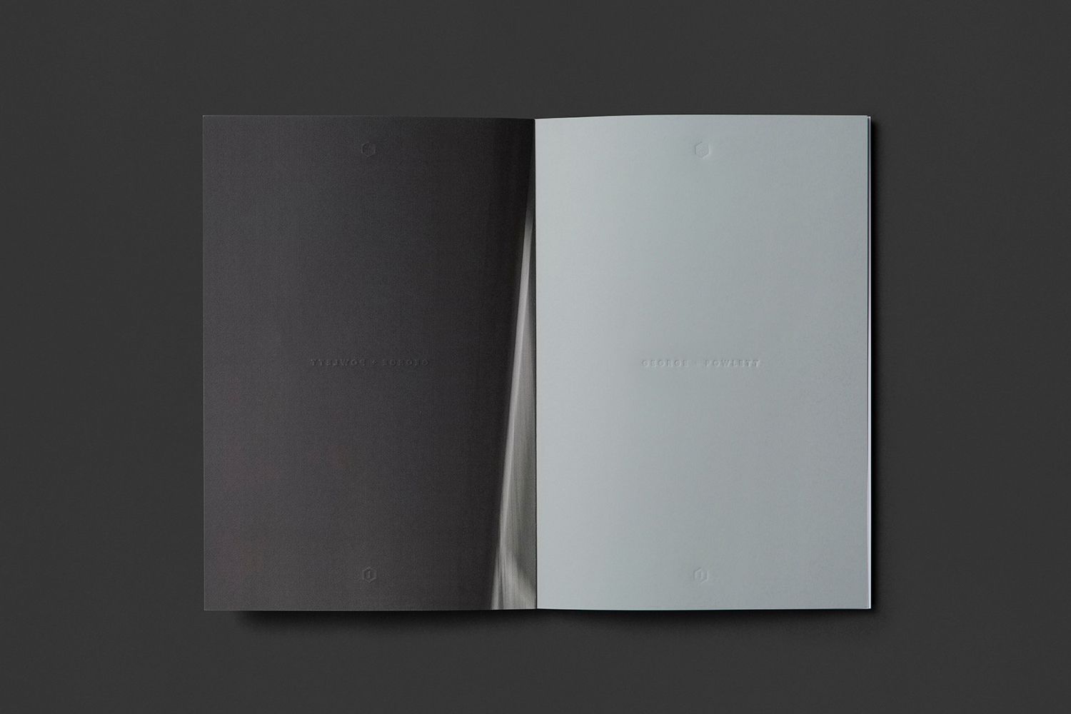 Brochure with blind deboss detail by Studio Brave for East Melbourne apartments George + Powlett