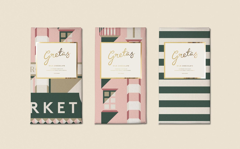 Brand identity and packaging for Stockholm-based cafe Gretas at Haymarket designed by 25AH, Sweden