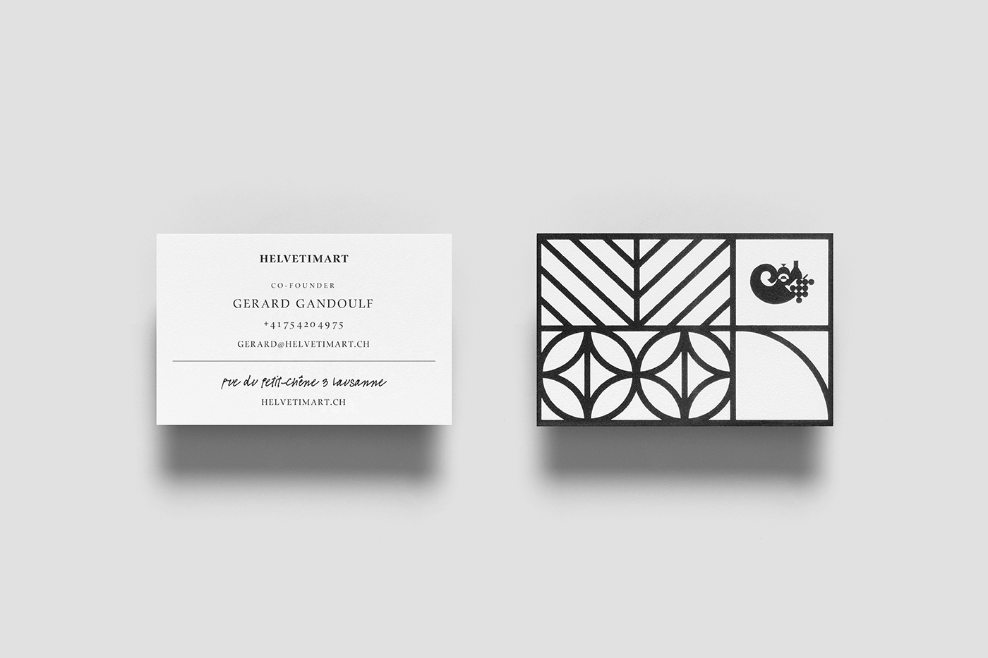 Brand identity and business cards by Anagrama for Lausanne-based independent food and speciality supermarket Helvetimart