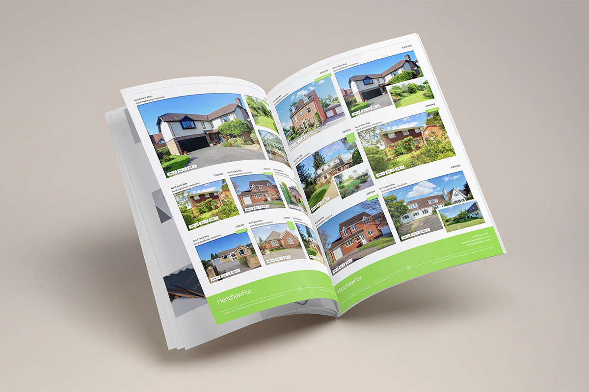Brand identity and property brochure by graphic design studio Parent for Romsey estate agent HenshawFox.