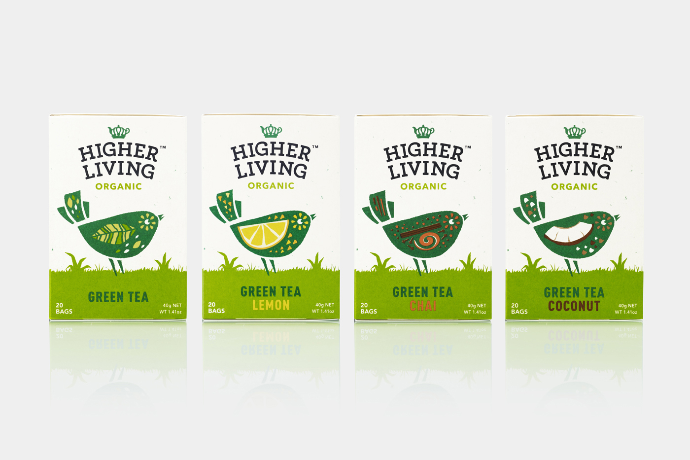Branding and packaging for organic tea company Higher Living by B&B Studio, United Kingdom