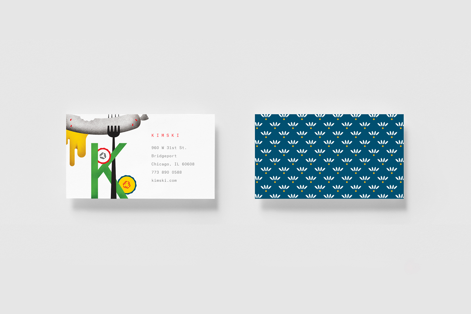 Brand identity, illustration and business cards by New York graphic design studio Franklyn for Chicago's Korean Polish street food restaurant Kimski