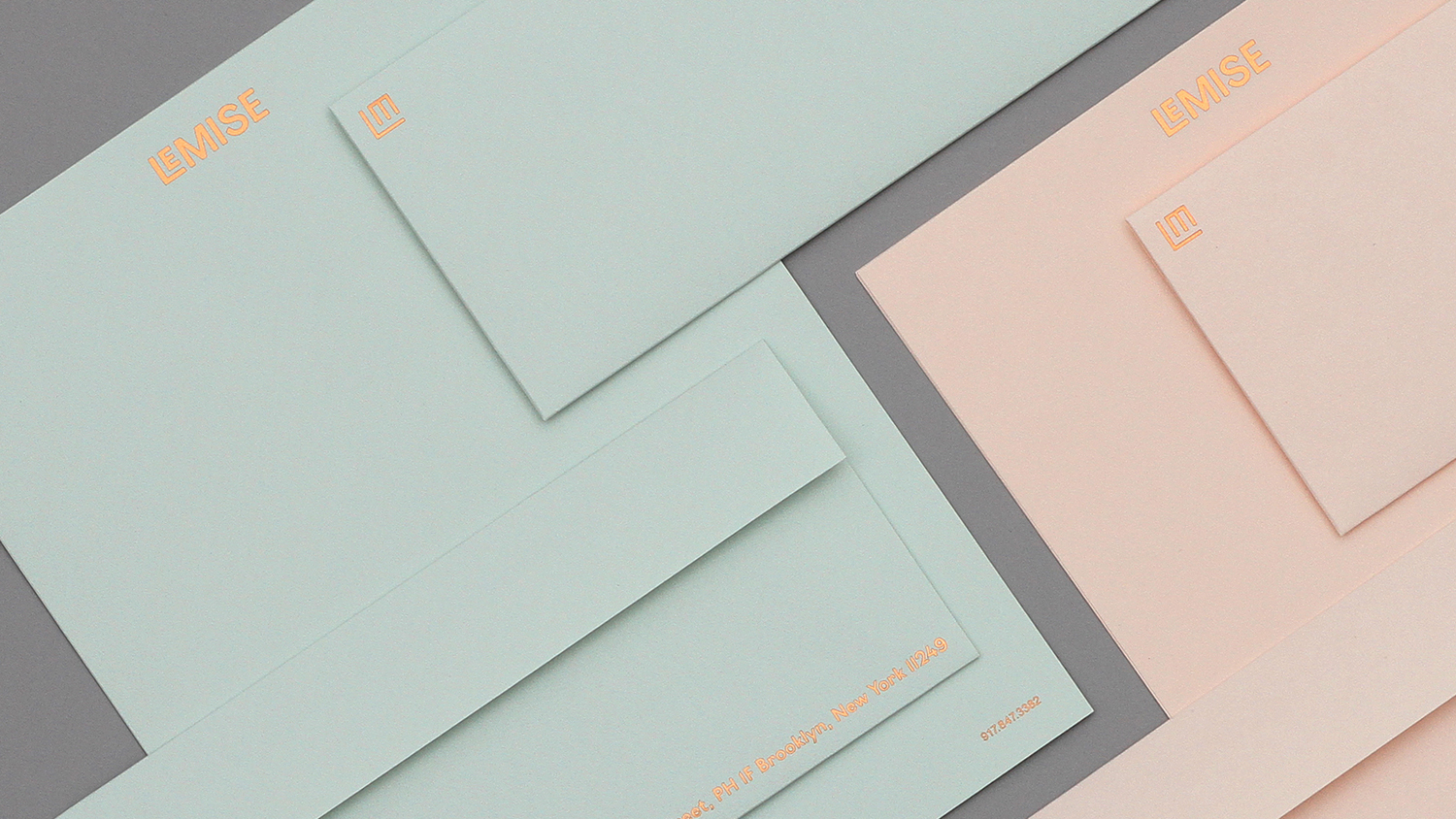 Brand identity and pastel coloured paper and coper block foil stationery for Brooklyn based art and design advisory business LeMise by DIA