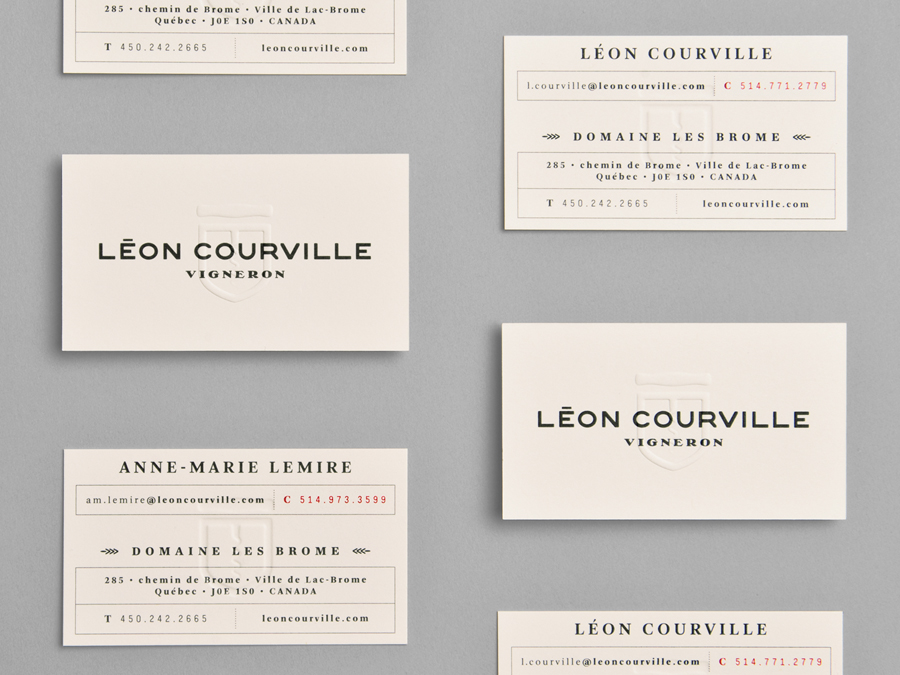 Blind embossed business cards for Leon Courville designed by lg2boutique.