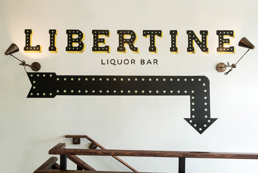 Hand painted signage for Libertine Liquor Bar by CODO