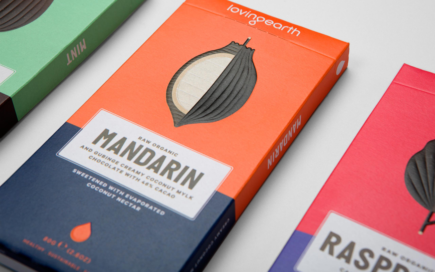 Package design for Loving Earth raw chocolate by graphic design studio Round